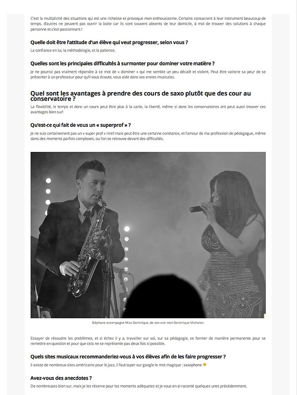 Interview de Stéphane Colin saxophoniste et Miss Dominique