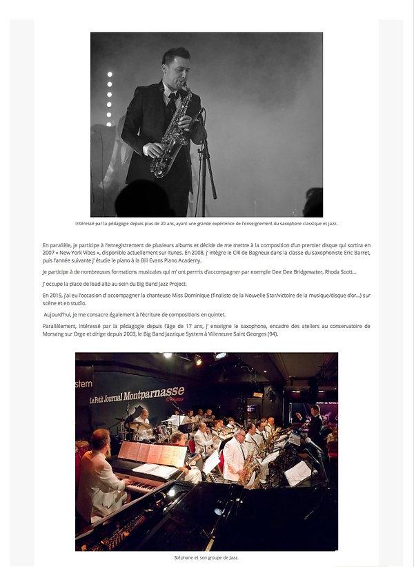 Interview de Stéphane Colin Saxophoniste