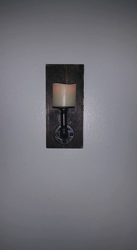 Pipe Wall Sconce on Wood