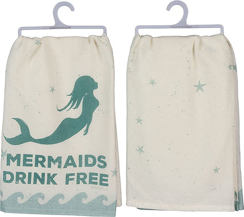 Dish Towel - Mermaids drink free