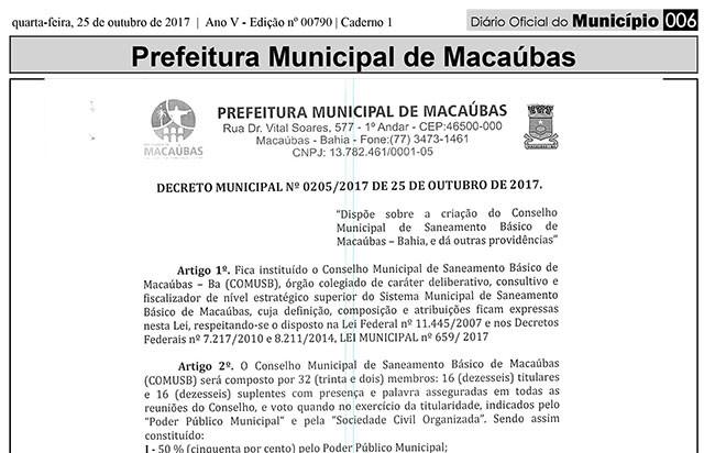Macaúbas: Decreto cria Conselho Municipal de Saneamento Básico