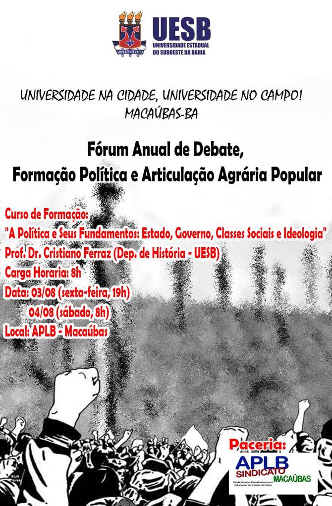 Macaúbas: Vem aí; Fórum Anual de Debate