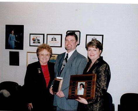 Accepting the Judy Goodwin teacher of the year award, 2001