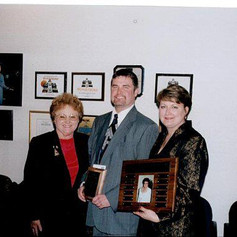 Accepting the Judy Goodwin teacher of the year award, 2001