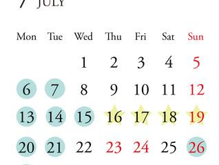 *7月定休日のお知らせ*