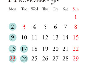 11月定休日のお知らせ
