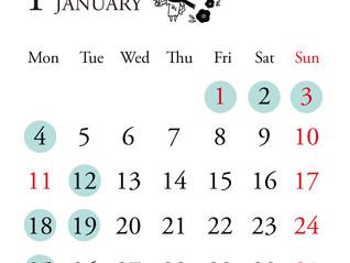 1月定休日と年末年始のお知らせ
