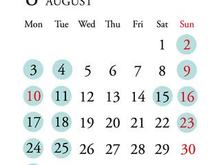 *8月定休日のお知らせ*