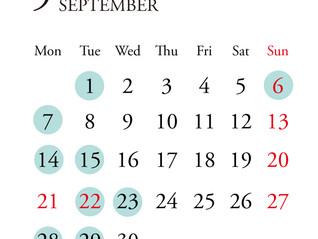*9月定休日のお知らせ*