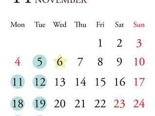 *11月定休日のお知らせ*