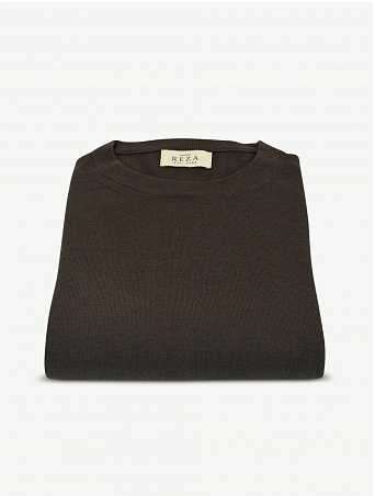 Pull Col Rond Cousteau Marron