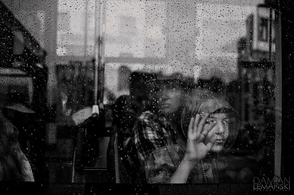 Boy in a tram.