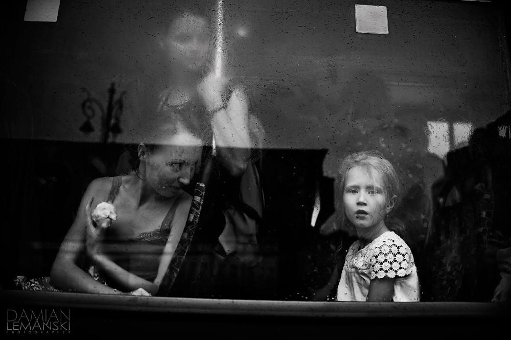 Girl in a tram.