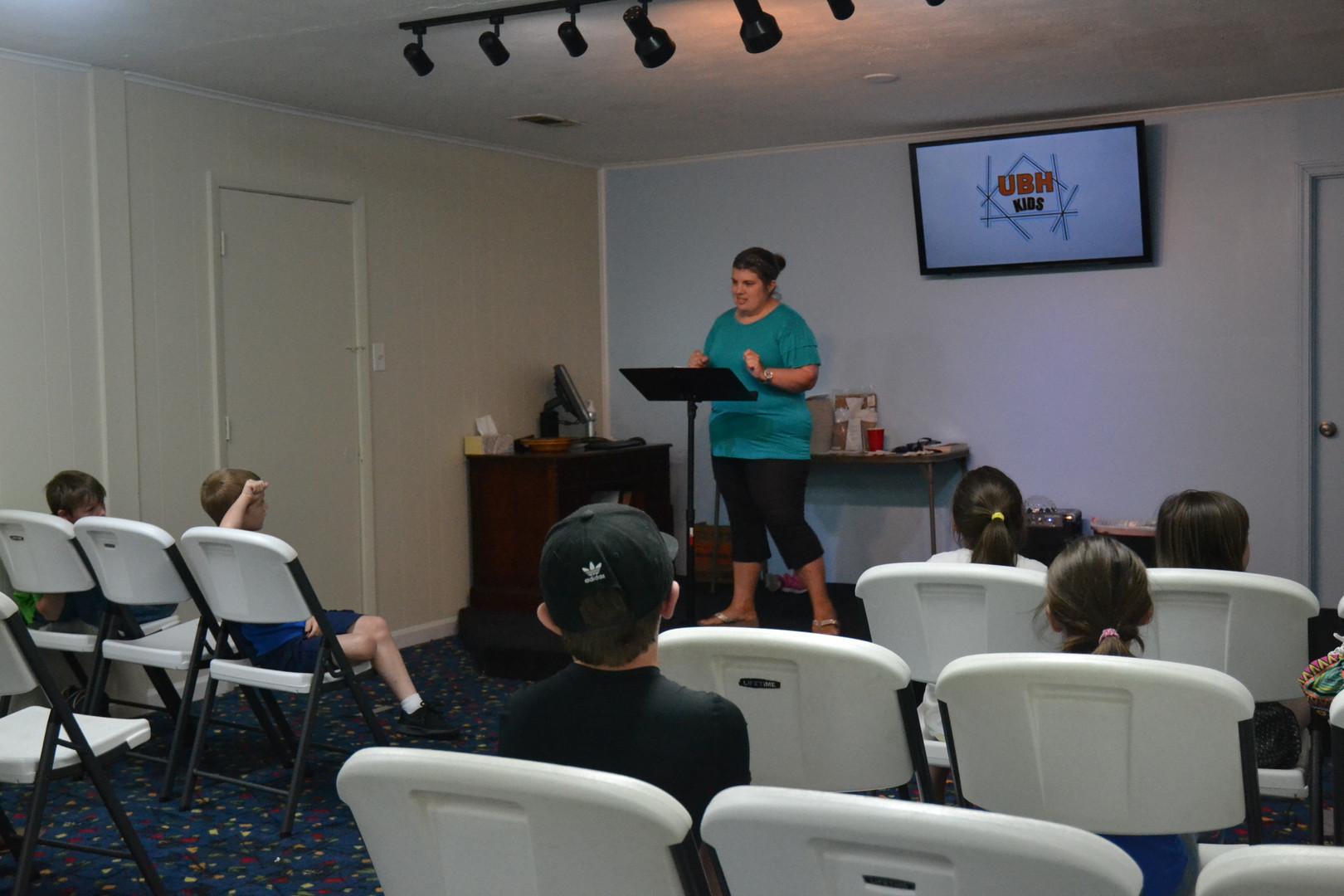 Ms. Tonya teaching Wednesday night class