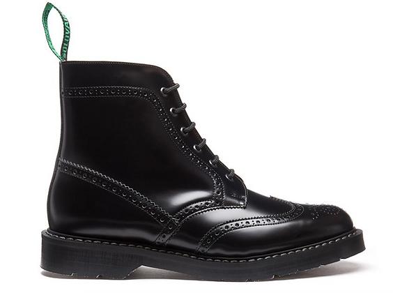 Black Hi-Shine 6 Eye Brogue Boot