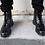 Thumbnail: Black Hi-Shine 6 Eye Brogue Boot