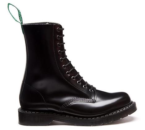 Black Hi-Shine 11 Eye Derby Boot
