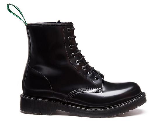 Black Hi-Shine 8 Eye Derby Boot
