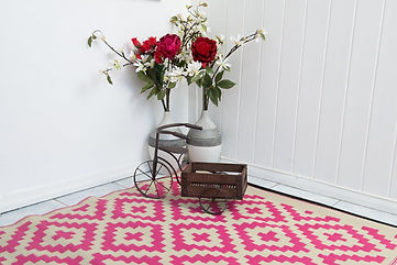 Cancun, Pink, Outdoor Teppich, Rosen, Muster, Reycelt, rug it