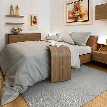 Schlafzimmer, blau, modern, gemütlich, Holz, Einrichtung, Recycelt