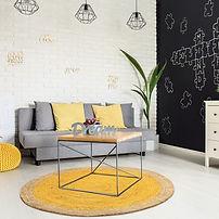 gelb, runder Teppich, moderne Einrichtung, Recycling, Jute
