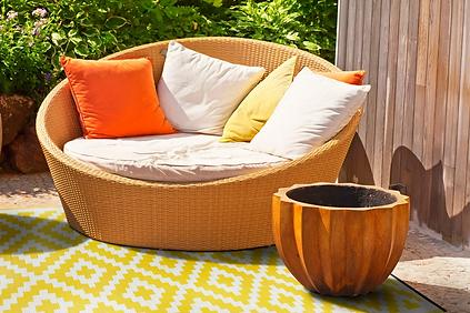Cancun, gelb, Muster, Terasse, Outdoor, Teppich, Außenbereich