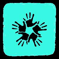 Vielfalt, Hände, schwar, türkis, Clipart