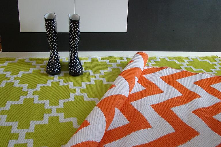 rug it, Barcelona, Havanna, gelb, orange, Outdoor Teppich, Gummistifel, schwarz, Muster, rug it