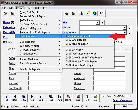 comm one call accounting software dnis s
