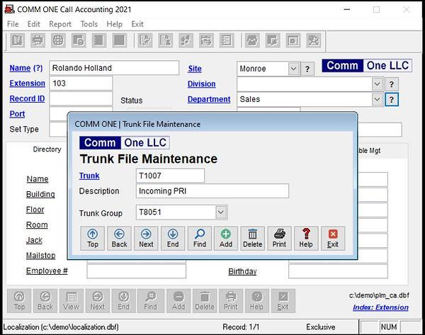 faq-1623 Trunk file maintenance screen.J