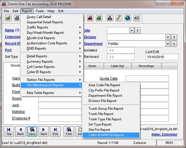 comm one call accounting software caller