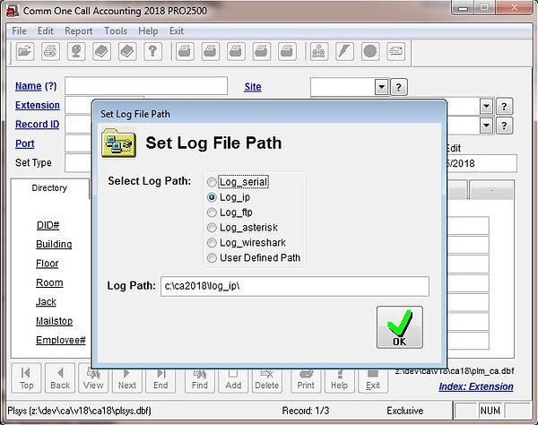 comm one set log file path screen.jpg