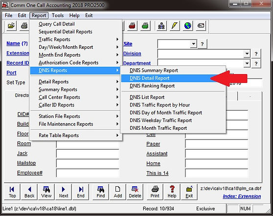 comm one call accounting software dnis d
