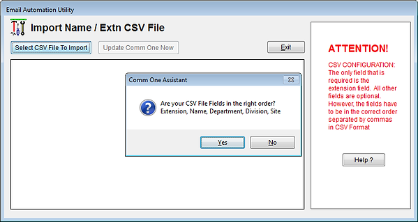Comm One Extension Import Utility CSV File Cofirmation Screen