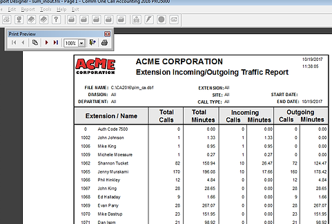 Sample of Comm One Incoming Outgoing Traffic Report