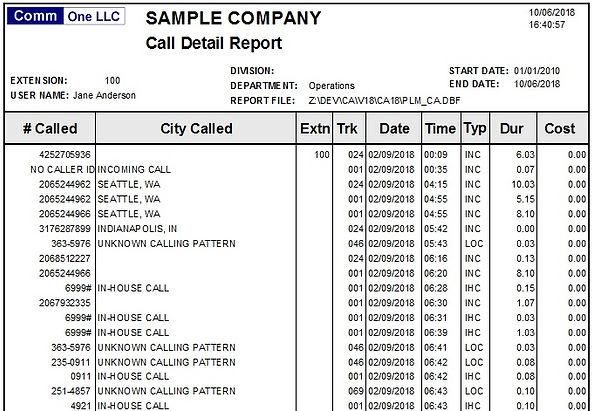 detail report for single department samp
