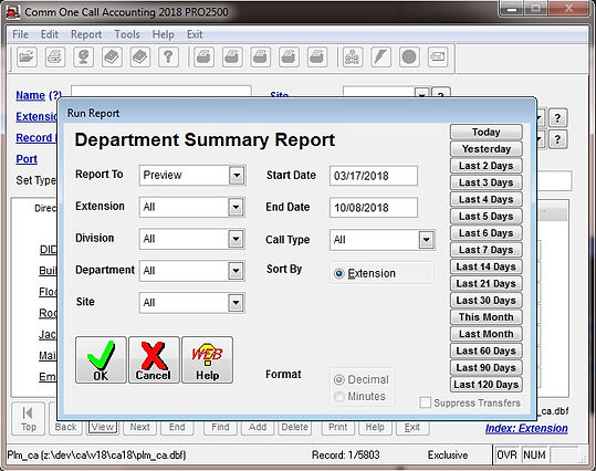 comm one call accounting software depart