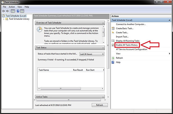 windows scheduler enable task history screen
