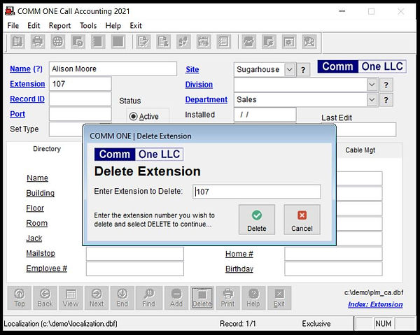 Delete an extension from Comm One Call Accounting Software