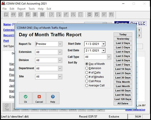 Comm One Day of Month Traffic Report configuration screen