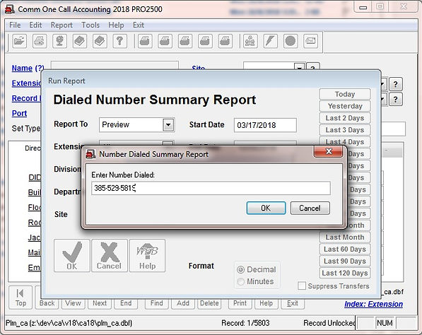 comm one call accounting software dialed