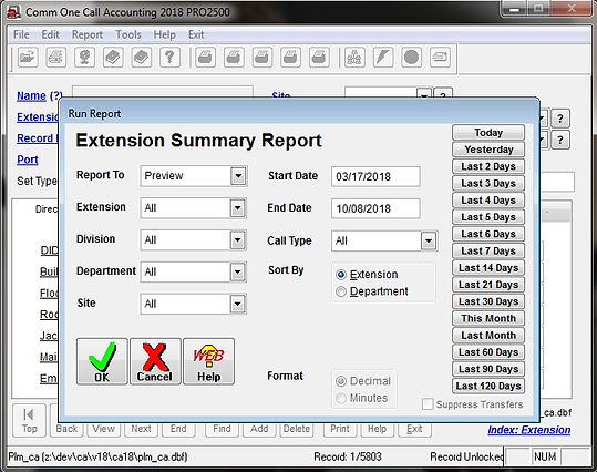 comm one call accounting software extens