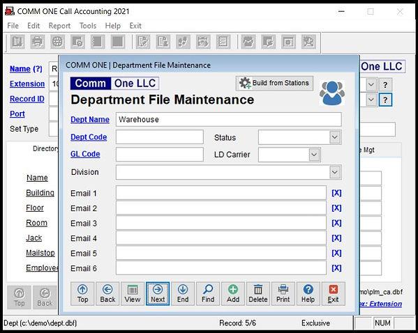 Department file maintenance screen