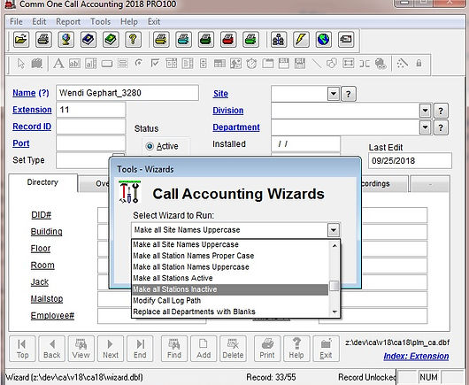 tools wizard 1154 how to make all stations inactive