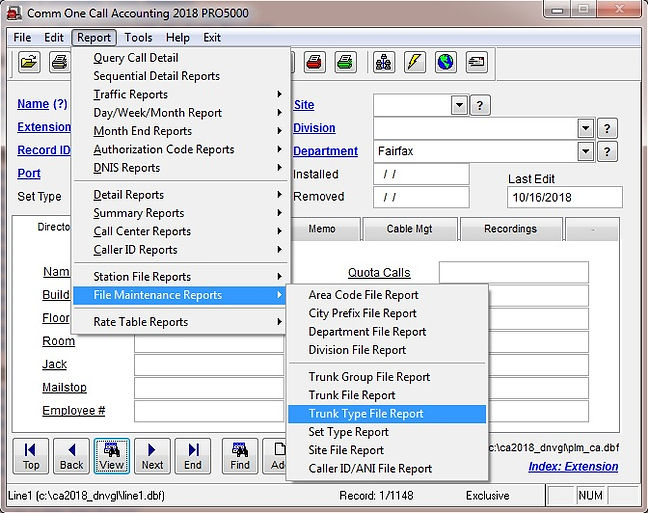 comm one call accounting software trunk