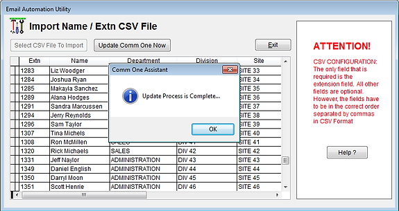 CSV Import Utiliy Proces is Complete Screen