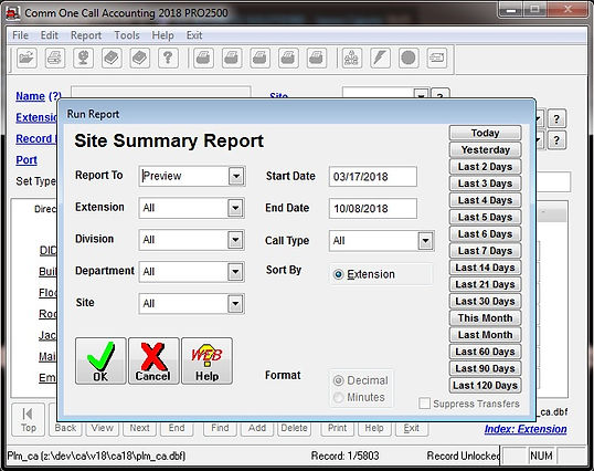 comm one call accounting software site s