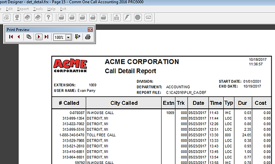 Comm One detail report preview