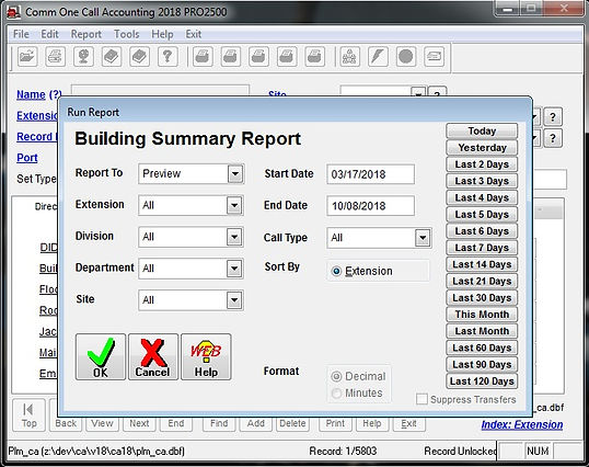 comm one call accounting software buildi