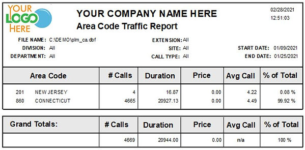 Comm One Call Accounting Software area code traffic report sample